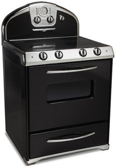 Northstar retro electric range.  Also available in all gas, all electric, or gas stove with electric oven.  Colors: black, white, off-white, red, aqua, light green, pale pink, buttercup yellow and stainless look