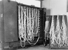 Rear of a 'bombe' code-breaking machine at Bletchley Park, 1943. Alan Turing designed the electromagnetic machines to reveal the plugboard settings on German Enigma ciphers.