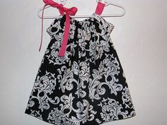 Damask Lady  Swing Pillowcase Dress with Pink Ties by LilLaineyBug,