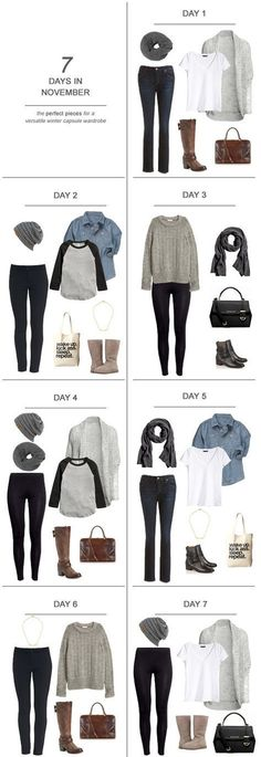 7 Days in November : The Perfect Pieces for a Versatile Winter Capsule Wardrobe Fall fashion outfits, fall fashion trends, fall family photo, winter outfits, winter outfits casual Mode Outfits, Casual Outfits, Fashion Outfits, Womens Fashion, Fashion Tips, Fashion Capsule, Casual Attire, Dress Casual, Fashion Bloggers