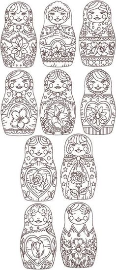 Although these are designs for redwork embroidery; I can't see why these Russian dolls couldn't be used for creating a painting (on canvas wood or paper) of singles or multiples in traditional colours then frame and hang the end result!