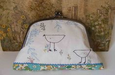 Handmade Purse Screen printed birds and hand by hensteeth on Etsy, $42.00