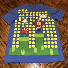 Camisa de 100 días de escola Super MARIO Bros Felt e tecido para MARIO. Asegúrese de que . 100th Day Of School Crafts, 100 Day Of School Project, Tot School, 100 Days Of School, School Fun, School Projects, School Ideas, Diy Craft Projects, Crafts For Kids
