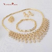 Mother's Gift!! Gold Plated 18k Fashion Charm Rhinestone Statement Jewelry, Girls Party Jewelry Sets