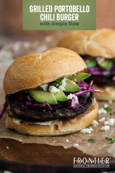 Meaty mushrooms soak up the flavors of onion, garlic, chili powder and red pepper flakes in this grilled Portobello chili burger recipe – proving that vegetarians are not to be excluded from a good burger off the grill! #grill #grillingrecipes #cookout #vegetarian #burger #bbq #grillthegoodness