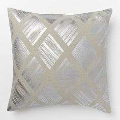 Crafted of 100% linen, the Metallic Diamond Pillow Cover is based off of artwork by renowned British designer Sarah Campbell. Putting a glamorous spin on a classic pattern, this cover is great to mix and match with other metallic accents for a luxe look.