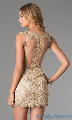 Shop Simply Dresses for sleeveless lace cocktail dresses by Dave and Johnny. Semi-formal dresses and sleeveless lace short prom dresses.