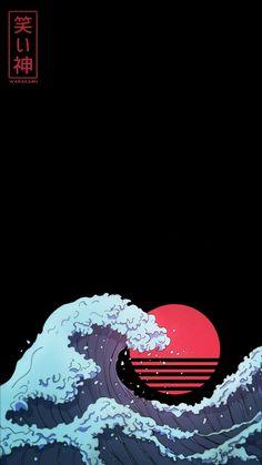 Waves Wallpaper Iphone, Japanese Wallpaper Iphone, Glitch Wallpaper, Graffiti Wallpaper, Iphone Wallpaper Tumblr Aesthetic, Retro Wallpaper, Cool Anime Wallpapers, Anime Scenery Wallpaper, Gaming Wallpapers