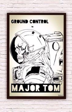 Ground Control to Major Tom // David Bowie lyrics // Astronaut Skeleton Skull Poster Print by SargentIllustration, $30.00