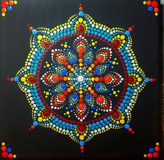 The black background provides a stark contrast so that the mandala jumps out at you.I painted this with dots. Canvas size :20x20cm. Ready to hang on your wall or just a unique gift for anyone. A very whimsical painting for any age to appreciate. Dot Paintings started with Aboriginal