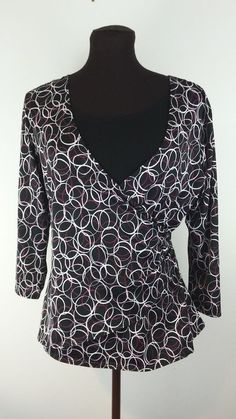 Notations Womens blouse Medium M 3/4 Sleeve Cinched Waist V Neck Pink Black Top #Notations #Blouse #Career