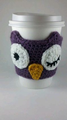 crochet owl cup holder, pattern found on Etsy