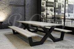Gescova Azur Bonucci Picknick Tafel-Bank-Picknicktafel-Picknickbank Aluminium Charcoal blad in Recycled Teak Grey Wash 280 San Gemini-Bonucc Table-picnic-en-aluminium-avec-plateau-en-teck-massif-Picnic-table-in-aluminium-and-teak-top-gartentisch