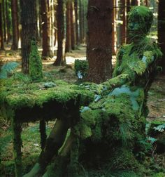 "janitoroflunacy:  ""Forest Piece at Schnaitsee,"" 1972. Photo by Holger Trülzsch of Veruschka (Vera Lehndorff) from Trans-Figurations"