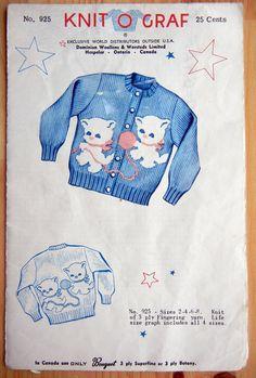 Knit-O-Graf Knitting Pattern - No 925 - Kitten Cardigan Sweater - Sizes 2-4-6-8