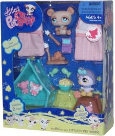 "Littlest Pet Shop Messiest Series Portable Collectible Gift Set - Owl (#924) and Brown Bear (#925) Plus 2 Sleeping Bags, Tent, ""Popcorn"", ""Canned Sardines"", 2 Fishes, Tree Log, Campfire and 2 Sticks with Marshmallow"