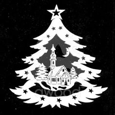 Stromek - kostel Christmas Stencils, Christmas Wood, Christmas Projects, Xmas, Christmas Ornaments, Vinyl Crafts, Paper Crafts, Glass Etching Stencils, Paper Cutting Patterns