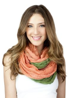 CORAL GREEN SCARF colorblock infinity scarf color by gertiebaxter, $29.50