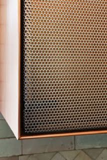Perforated metal joinery front Further Lane Kitchen - Robert Young Architecture & Interiors Metal Furniture, Industrial Furniture, Furniture Design, Furniture Market, Repurposed Furniture, Luxury Furniture, Door Design, House Design, Joinery Details