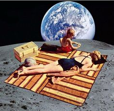 Lunar Vacations via Eugenia Loli Collage. Collages, Collage Artists, Photomontage, Honeymoon Trends, Surrealist Collage, Eugenia Loli, Collage Illustration, Flyer, Psychedelic Art
