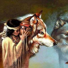 Native american woman  Wolf