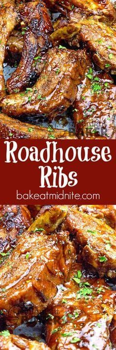 Ribs Succulent pork back ribs cooked in beer and coated with a special roadhouse sauce! Guy pleasing food at it's best!Succulent pork back ribs cooked in beer and coated with a special roadhouse sauce! Guy pleasing food at it's best! Grilling Recipes, Pork Recipes, Crockpot Recipes, Chicken Recipes, Cooking Recipes, Healthy Recipes, Chicken Dips, Smoker Recipes, Recipies