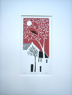 Valentines Love Birds Art - Original Linocut - Linoprint - Block Print, Red & Black, Limited Edition Bluebird Gallery Signed,Anniversary Gift. £45.00, via Etsy.