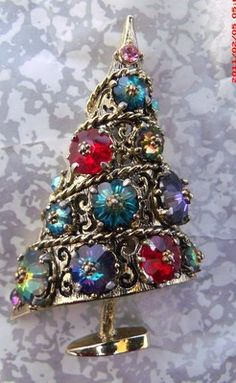 Signed Weiss Rivoli Christmas Tree Brooch Pin | eBay