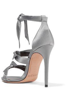 Alexandre Birman - Mary Bow-embellished Satin Sandals - Gray