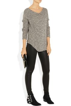 Helmut Lang top, Alberta Ferretti top, Kenneth Jay Lane ring, Pamela Love ring, Paige jeans, Valentino clutch, Toga boots.