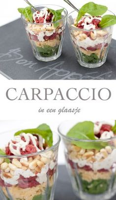 Recept voor Carpaccio in een glaasje. Recept voor Carpaccio in een glaasje. Tapas, I Love Food, Good Food, Yummy Food, Brunch, Ensalada Thai, Snacks Für Party, Xmas Food, Happy Foods