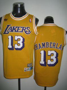 Adidas NBA Los Angeles Lakers 13 Wilt Chamberlain Swingman Yellow Throwback Jersey