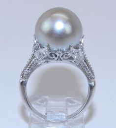 Antique 14k White Gold Filigree Diamond Gray South Sea Pearl Engagement Ring:  Absolutely stunning!!
