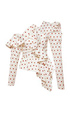 Self Portrait Asymmetric Satin Polka Dot Frill Top Casual Outfits, Fashion Outfits, Womens Fashion, Fashion Trends, Vintage Outfits, Vintage Clothing, Frill Tops, Blouse Styles, Mode Style