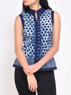 Buy Ivory Indigo Cotton Waist Coat Online at Jaypore.com Short Kurti Designs, Kurti Neck Designs, Kurta Designs Women, Dress Neck Designs, Blouse Designs, Cotton Dresses Online, Blouse Batik, Indian Designer Outfits, Short Tops