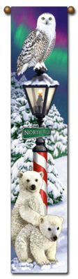 "40"" CHRISTMAS Snow North Pole Polar Bears Bell Pull Tapestry Wall Hanging $23.50"