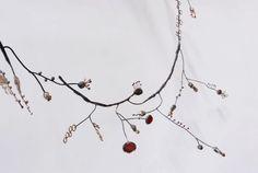 Liisa Hashimoto - [ Mebae Branch neckpiece ] silver, enamel, brass