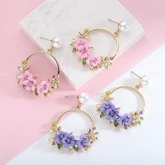 Fancy Jewellery, Fancy Earrings, Stylish Jewelry, Flower Earrings, Crystal Earrings, Beaded Earrings, Fashion Jewelry, Drop Earrings, Ear Jewelry