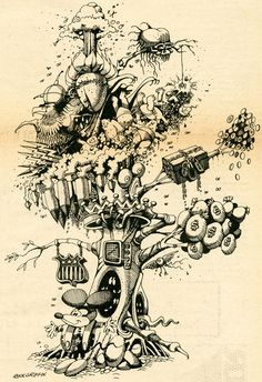 The Miraculous Gold Tree. Rick Griffin for San Francisco Express Times (1968)