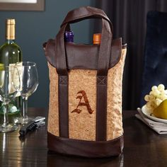 Tote your wine or 22 oz beer bottles in charming style to your next party or picnic with this unique personalized wine tote. With a soft and flexible cork exterior