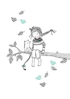 Ansichtkaart Tree girl. Illustratie: Marieke ten Berge. Decoratie kinderkamer babykamer zwart-wit monochrome en pastel.