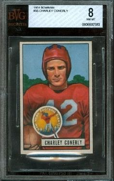 1951 Bowman #56 - Charley Conerly - BVG 8 -- New York Giants by Bowman. $150.00. 1951 Bowman #56 - Charley Conerly - BVG 8 -- New York Giants