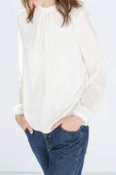 White Chiffon Blouse with Open Back and Tie