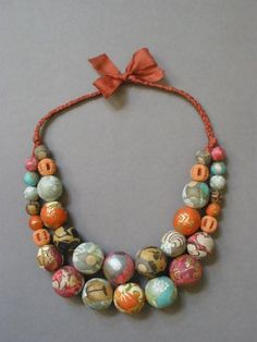 Art-Paper Beaded Necklace
