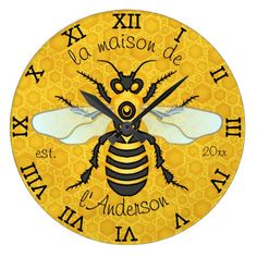 Honeybee Honeycomb French Bee Family Name Elegant Large Clock - Do you know how important honey bees are? The sad truth is they are dwindling in numbers. Educate yourself about the plight of honey bees and help save them! Bee Family, Small Bees, Blue Wings, Honeycomb Pattern, Antique Clocks, Large Clock, Bee Theme, Save The Bees, Bees Knees