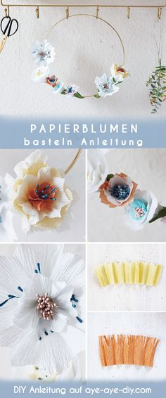 Papierblumen DIY: wie du ganz einfach Papierblumen basteln und sie zu einem tollen Kranz binden kannst, zeige ich dir Schritt für Schritt in dieser Anleitung auf aye-aye-diy.com! Schau dir meine verschiedenen Vorlagen an und wähle dein Wunschmuster für Blütenblätter zum Selbermachen. Es macht auf jeden Fall süchtig! --- Papierblumen basteln einfach mit Krepppapier I Paperflowers templates I paper flowers diy I Frühlingsdeko I Papierblumen basteln Vorlagen I Papierblumen basteln Anleitung Ostergeschenk Diy, Tableware, Blog, Paper Mill, Paper Bouquet Diy, Dinnerware, Tablewares, Blogging