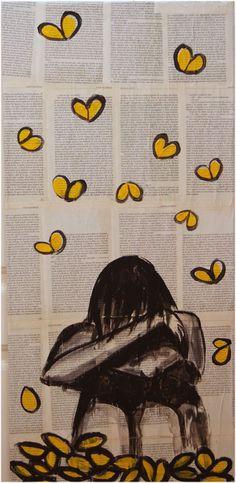 """Y le vio otra vez la cara a su soledad miserable. Acrílico s/lienzo y páginas de """"Cien años de soledad"""" 81 x 38"""