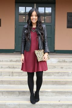 6 Dressy Casual Outfits You Can Wear for Holiday Parties - Dressy Casual Holiday Outfit Ideas: Black Moto Jacket + Maroon Swing Dress + Leopard Clutch + Black Booties Source by miriminalcar - Casual Holiday Outfits, Dressy Casual Outfits, Winter Dress Outfits, Casual Dresses, Casual Wear, Church Outfit Winter, Black Outfits, Casual Boots, Casual Church Outfits