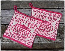 pattern by Jorunn Jakobsen Pedersen Crochet Potholders, Crochet Granny, Knit Crochet, Crochet Home Decor, Diy Arts And Crafts, Handicraft, Diy Design, Pot Holders, Knitting Patterns