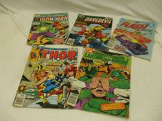 SUPERHEROES-VARIOUS ISSUES! MIX OF 5! 1970'S/80'S! DC & MARVEL COMICS! AS IS!